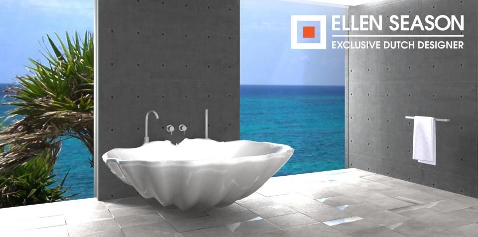 Ellen Season  Schelp badkuip en schelp wasbak Shell We Bath + Shell We # Wasbak Schelp_094824